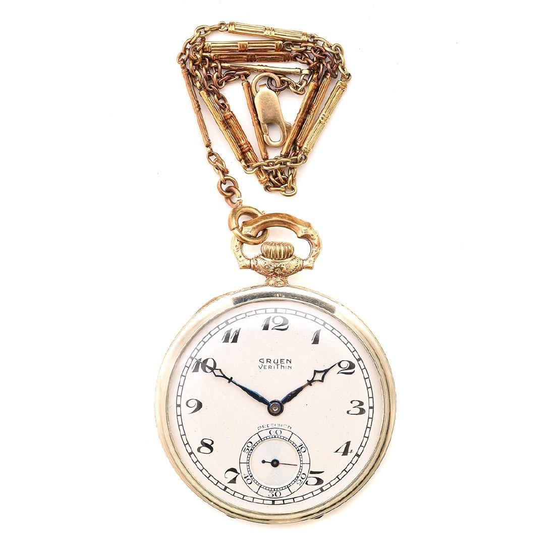 Gruen 14k Gold Pocket Watch with Chain.