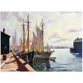 C Hjalmar Cappy Amundsen Boats in Harbor oil on