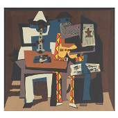 """After Pablo Picasso """"Three Musicians"""" lithograph"""