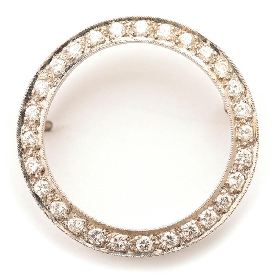 Diamond, 14k White Gold Pin