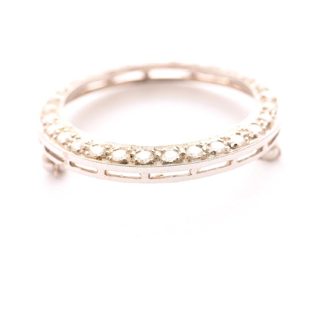 Diamond, 14k White Gold Pin - 3