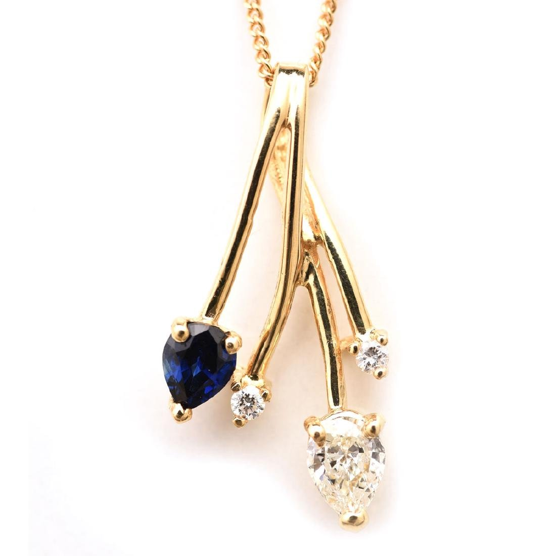 Diamond, Sapphire, 14k Yellow Gold Necklace.