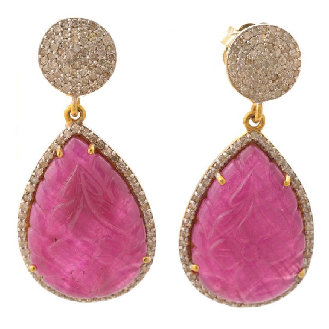Pair of Ruby, Diamond, 14k Yellow Gold Earrings.