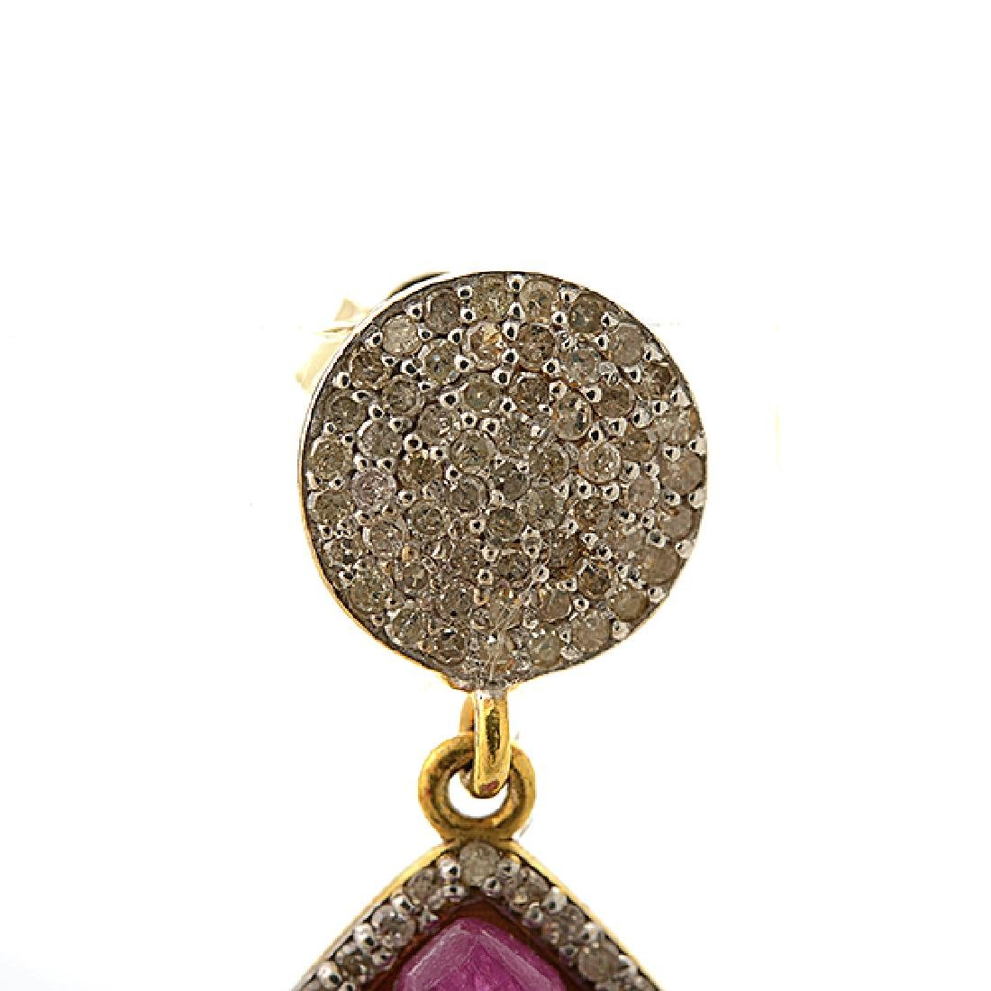 Pair of Ruby, Diamond, 14k Yellow Gold Earrings. - 2
