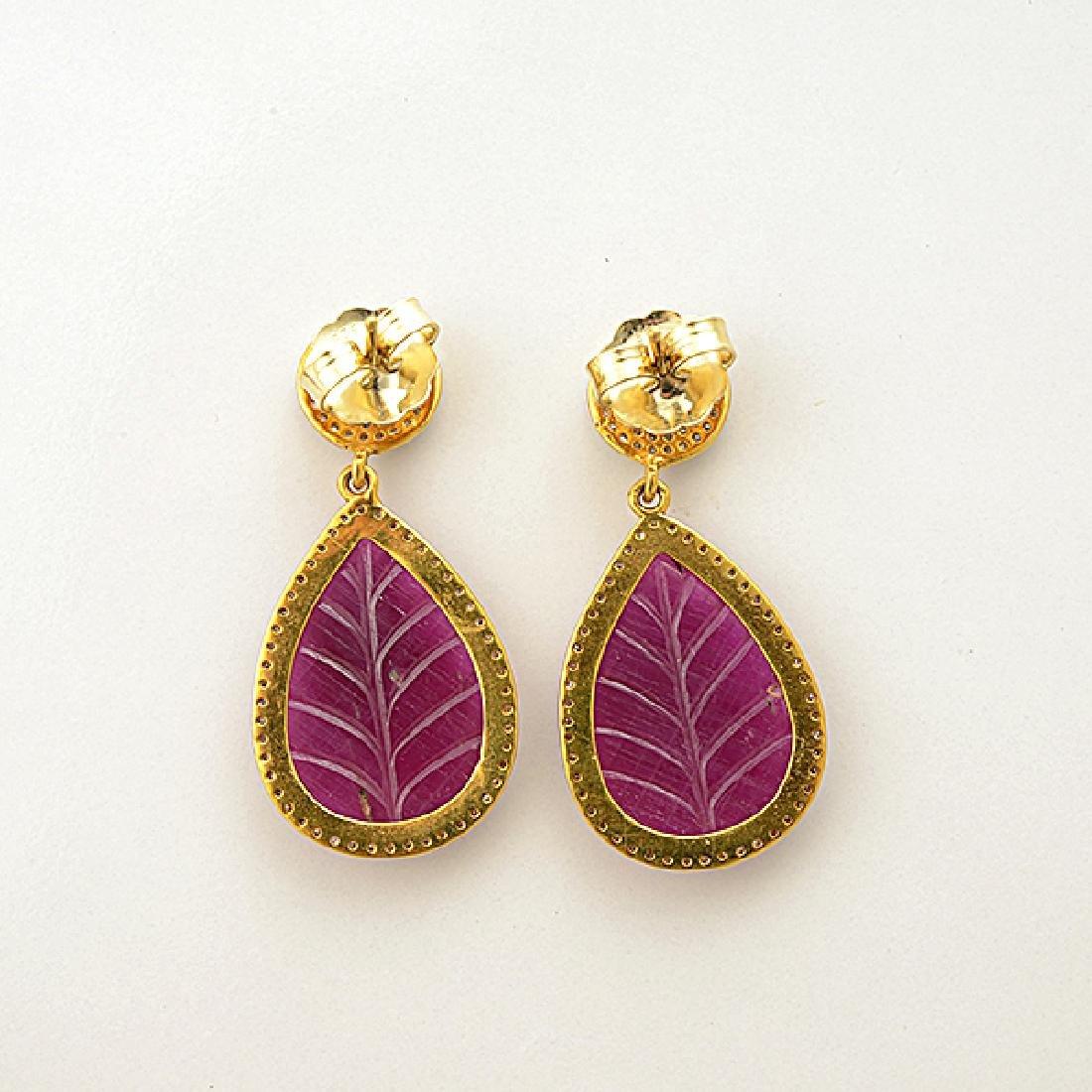 Pair of Ruby, Diamond, 14k Yellow Gold Earrings. - 4