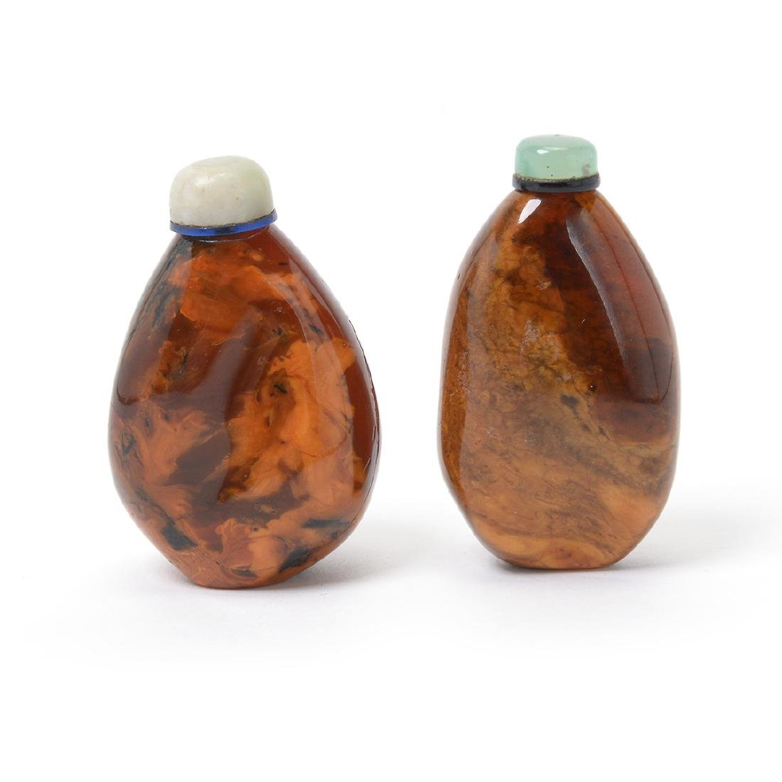 Two Pebble Form Root Amber Snuff Bottles, 19th C