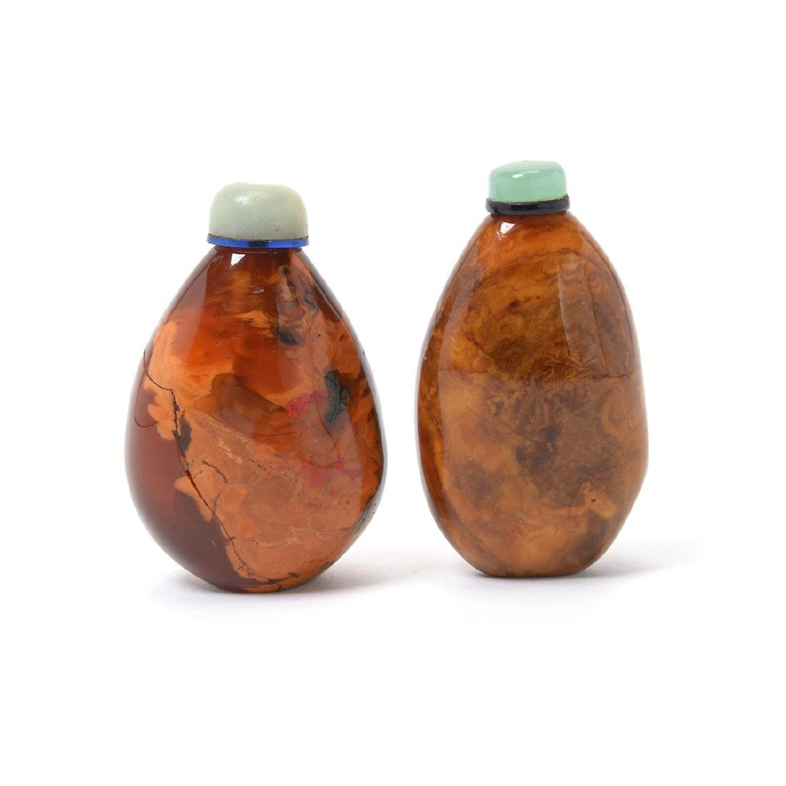 Two Pebble Form Root Amber Snuff Bottles, 19th C - 2