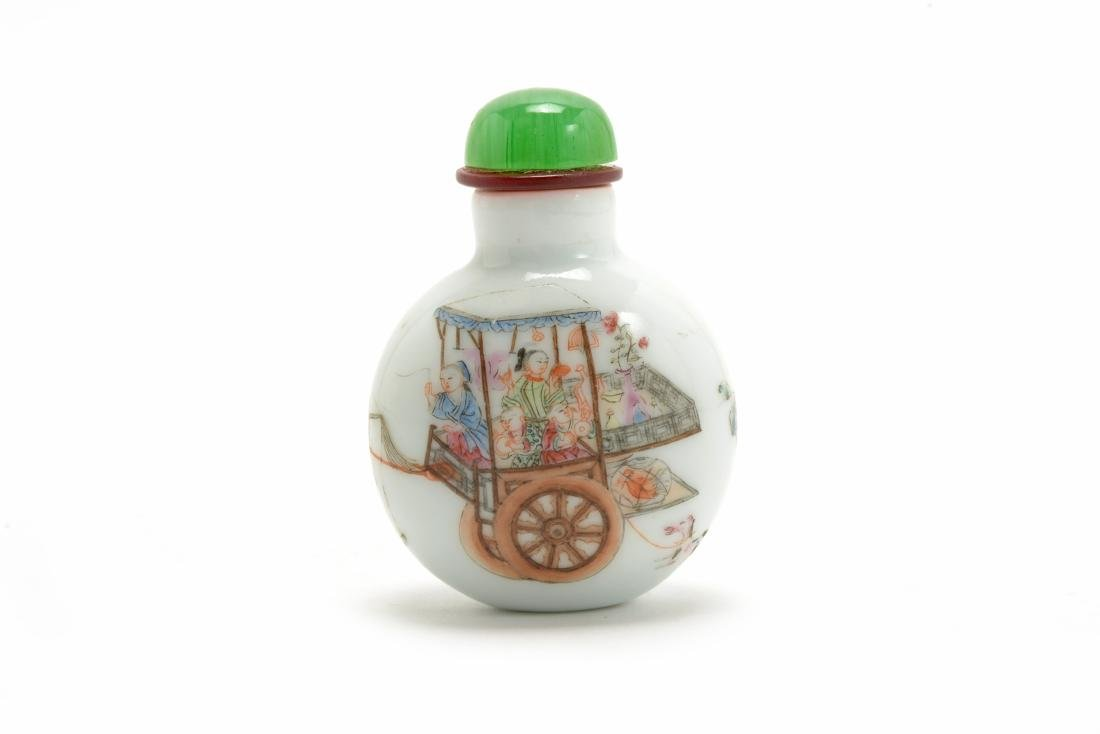 Famille Rose Figural Porcelain Snuff Bottle, Daoguang