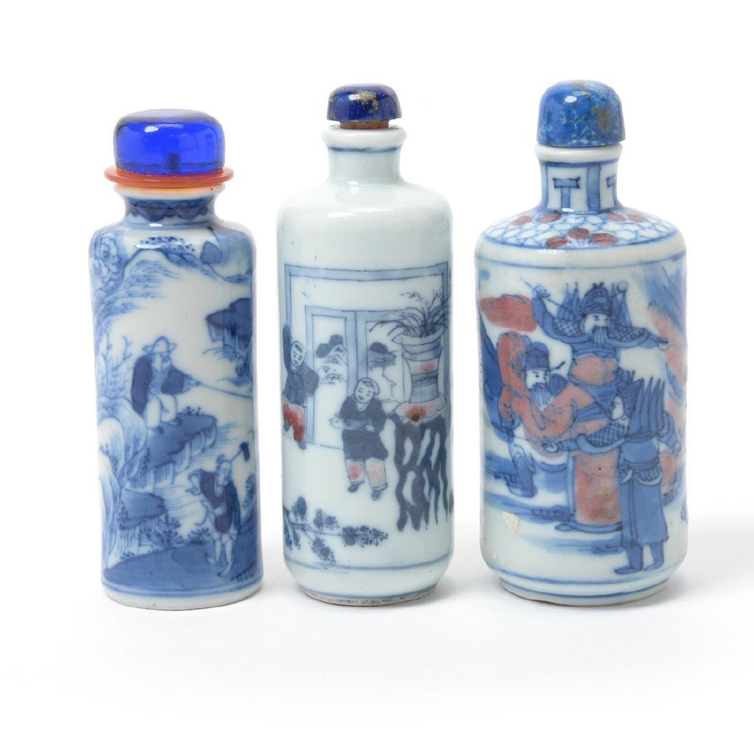 Three Underglaze Blue Porcelain Snuff Bottles, 19th C