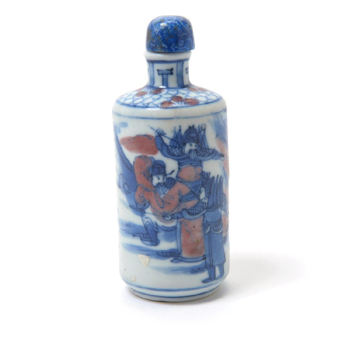 Three Underglaze Blue Porcelain Snuff Bottles, 19th C - 5