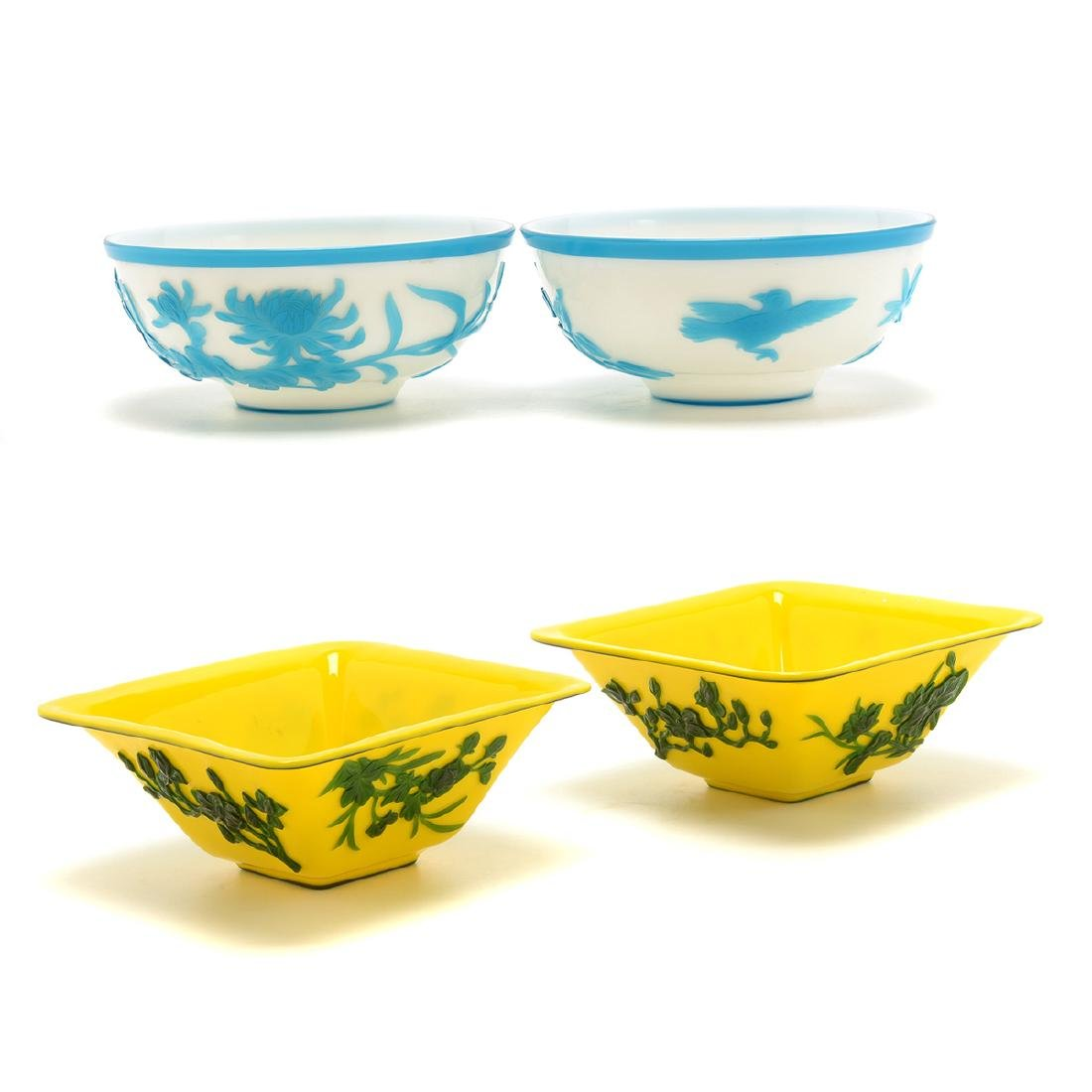 Two Pairs of Overlay Glass Bowls
