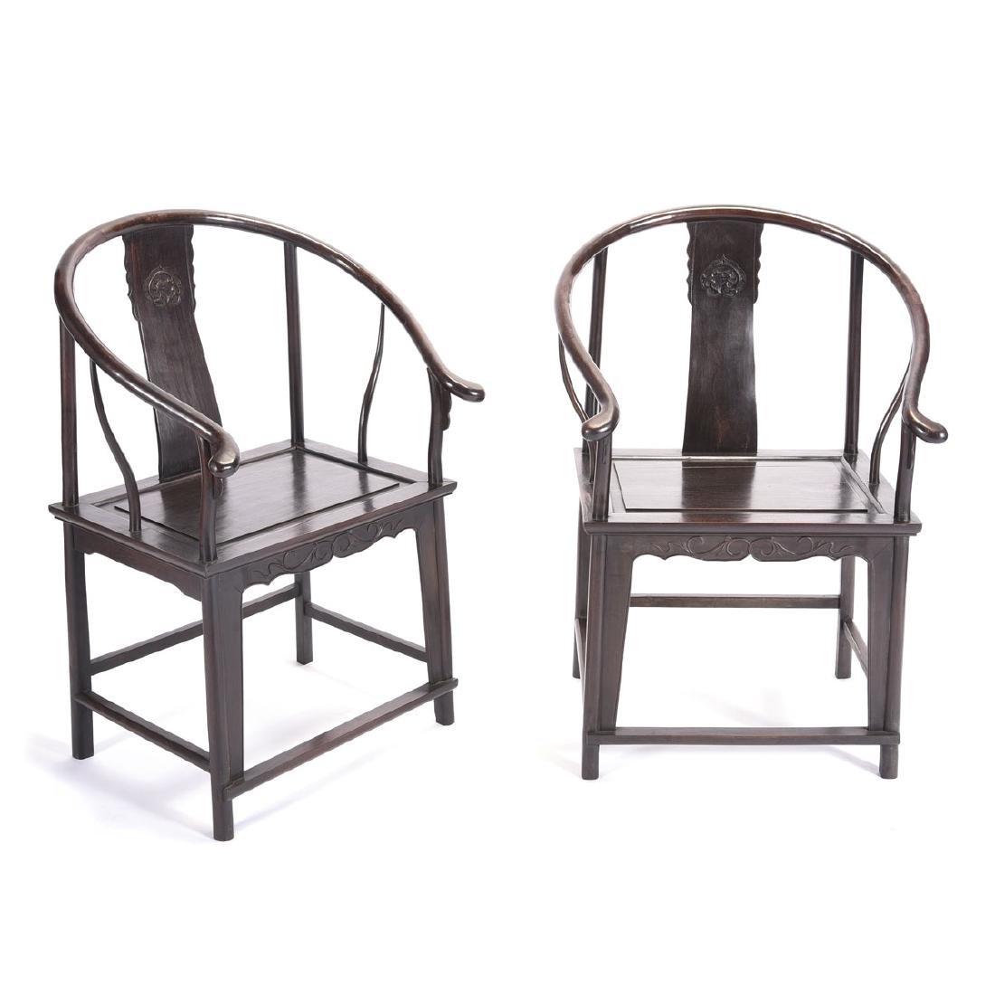 Pr of Zitan Horseshoe-Back Armchairs