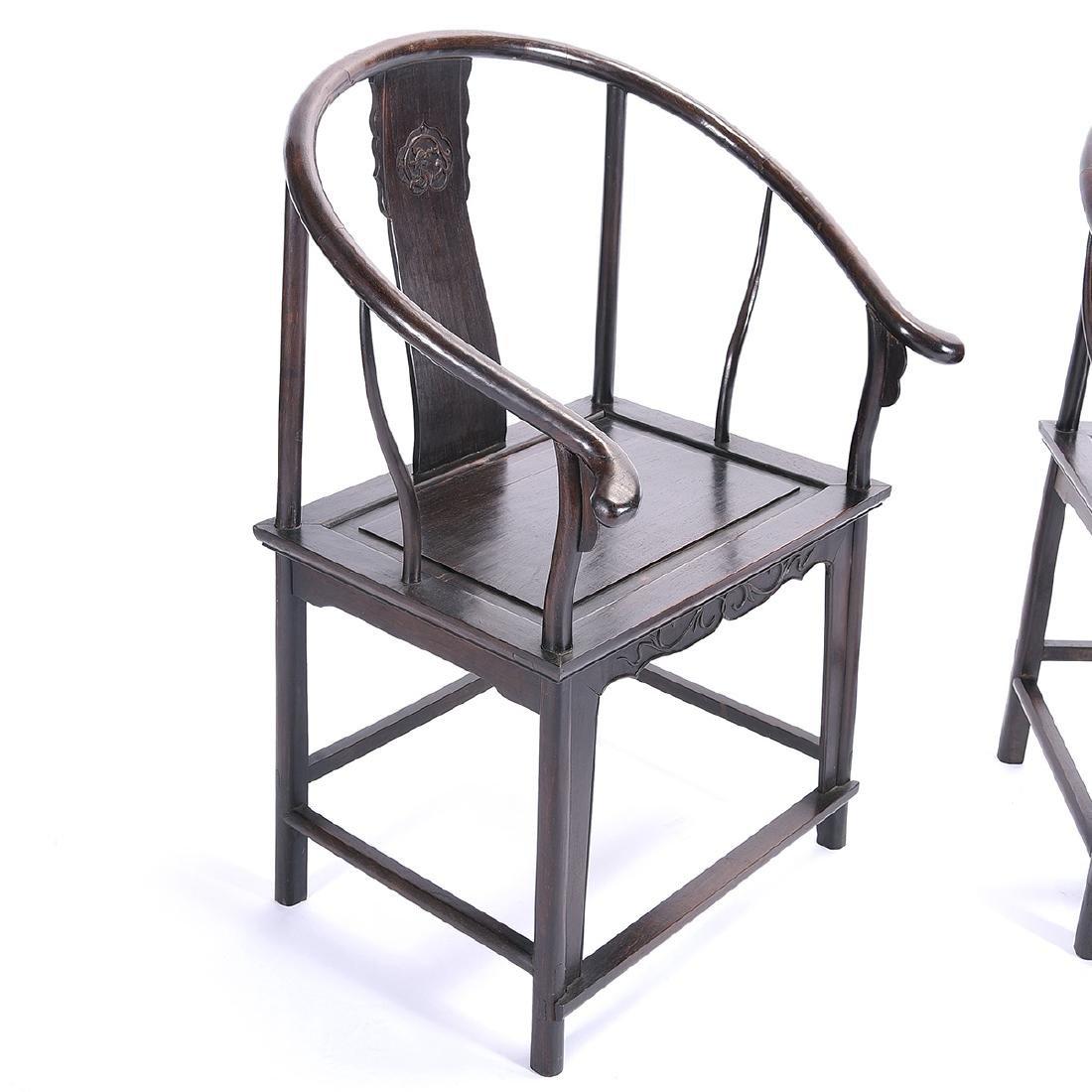 Pr of Zitan Horseshoe-Back Armchairs - 3