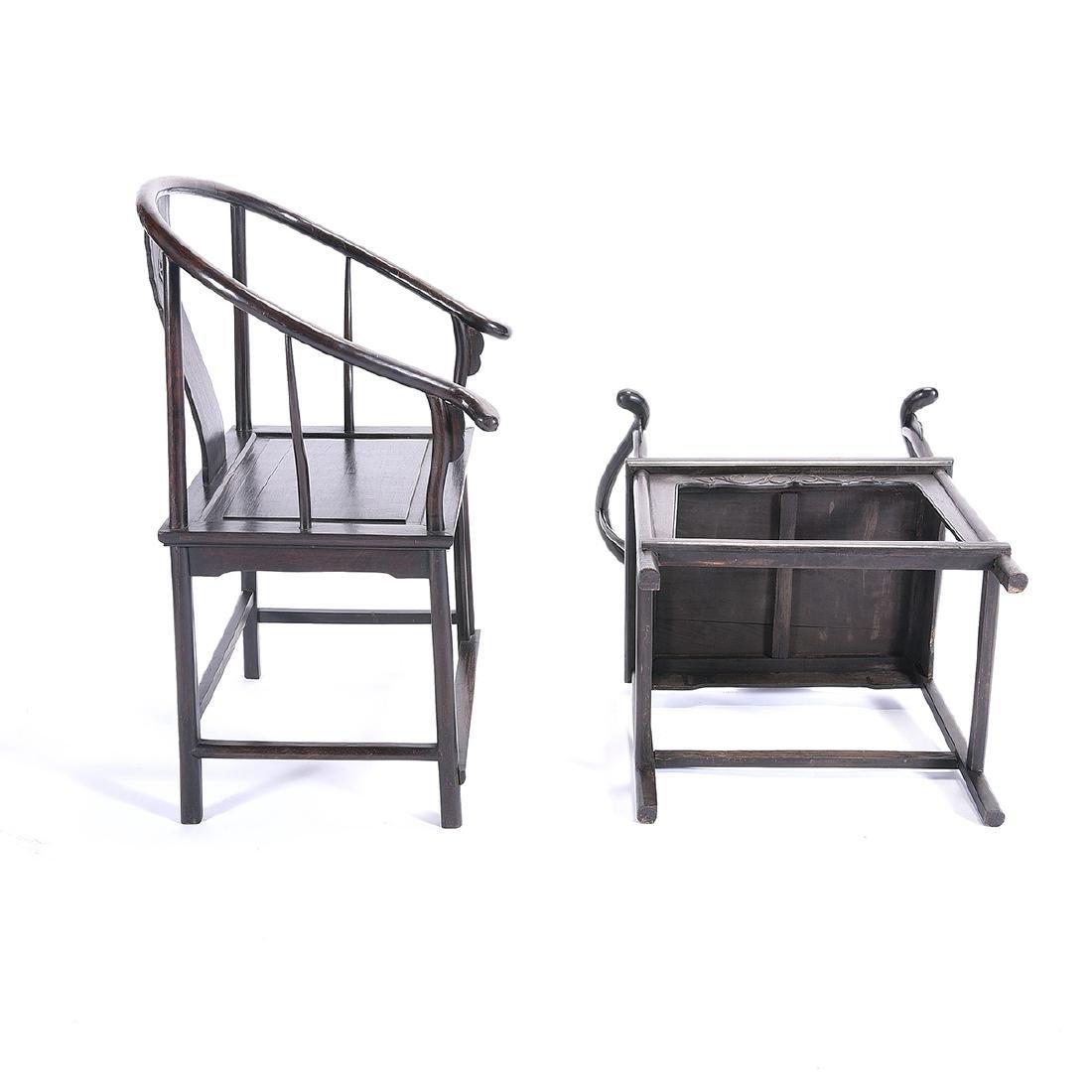 Pr of Zitan Horseshoe-Back Armchairs - 6