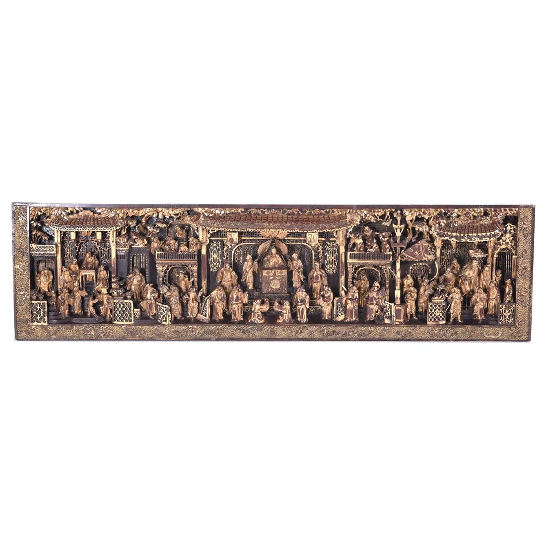 Massive Gilt Wood Horizontal Architectural Panel, 19th