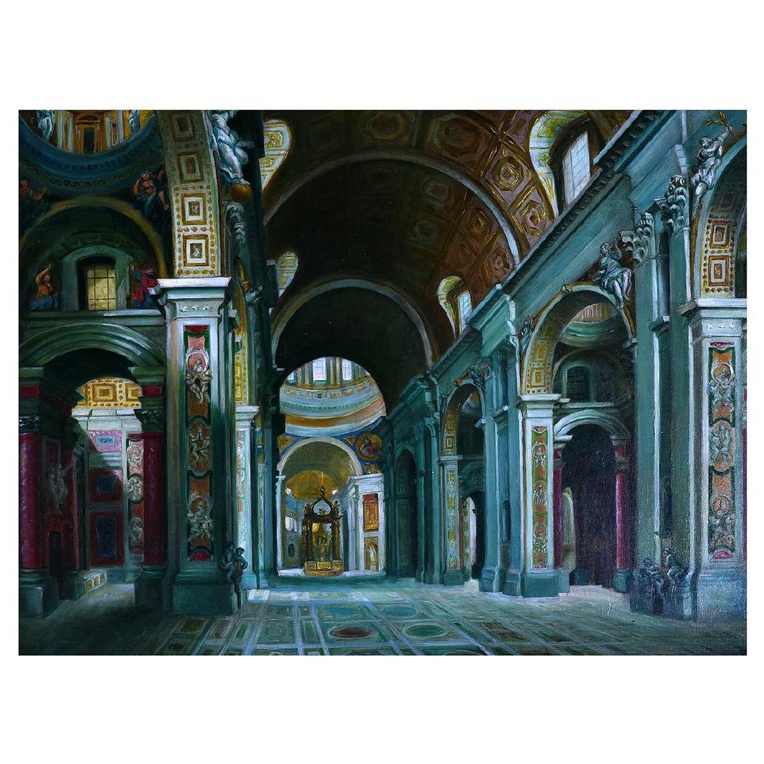 "Continental School ""Basilica Interior"" oil on canvas"