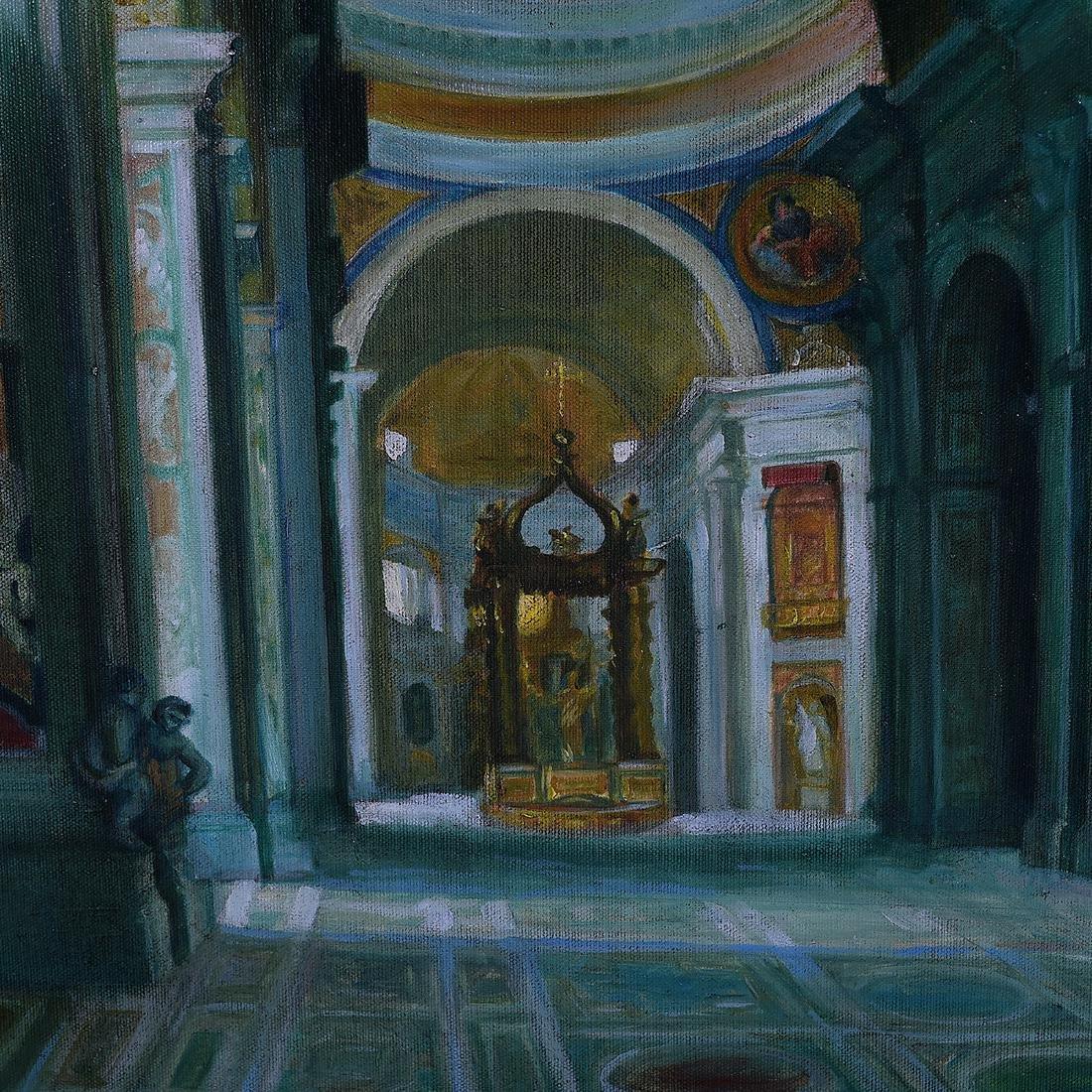 "Continental School ""Basilica Interior"" oil on canvas - 2"