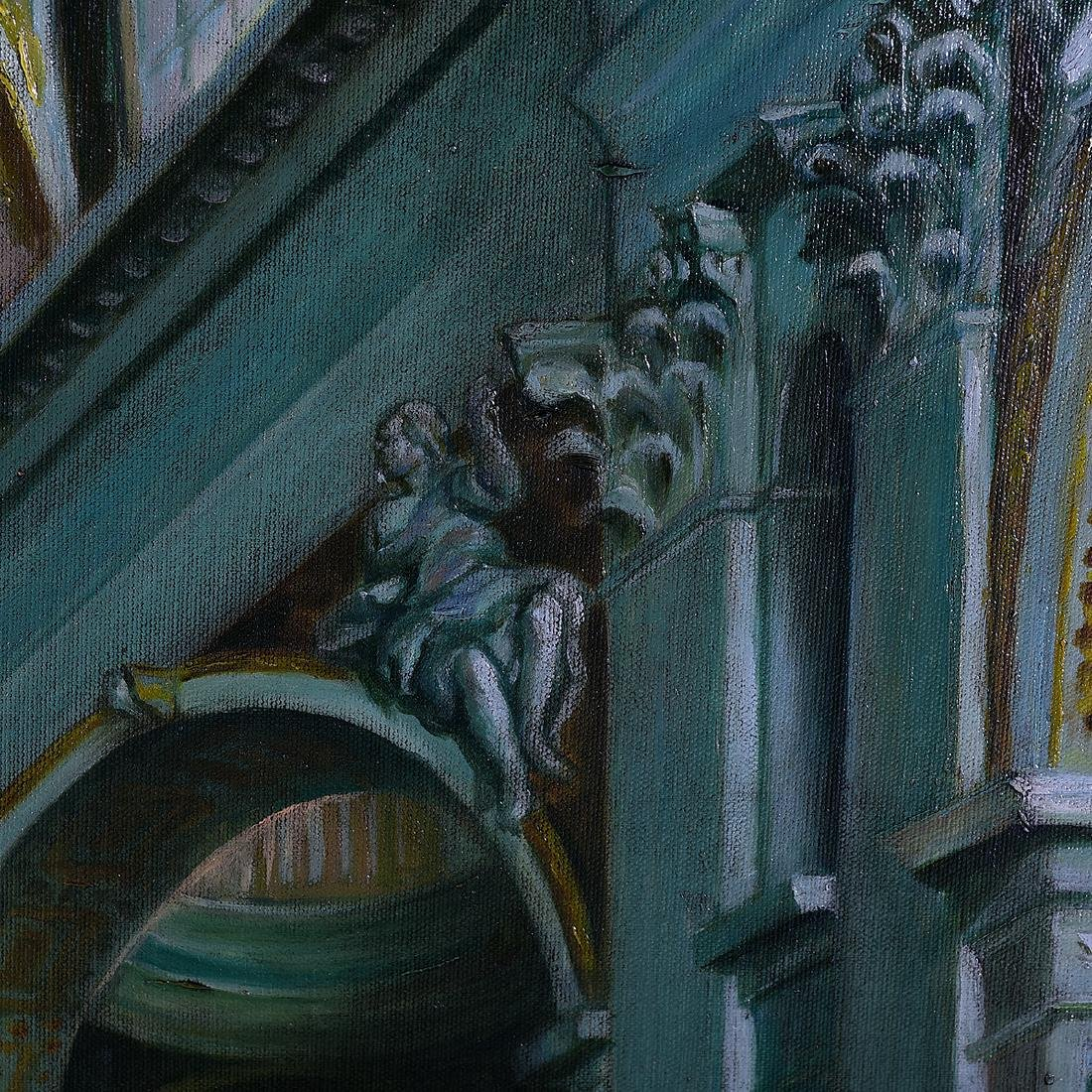 "Continental School ""Basilica Interior"" oil on canvas - 3"