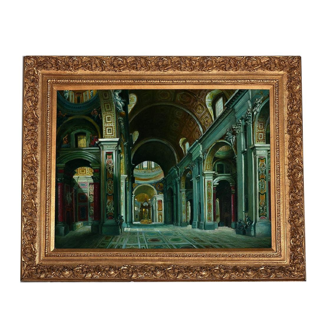 "Continental School ""Basilica Interior"" oil on canvas - 4"