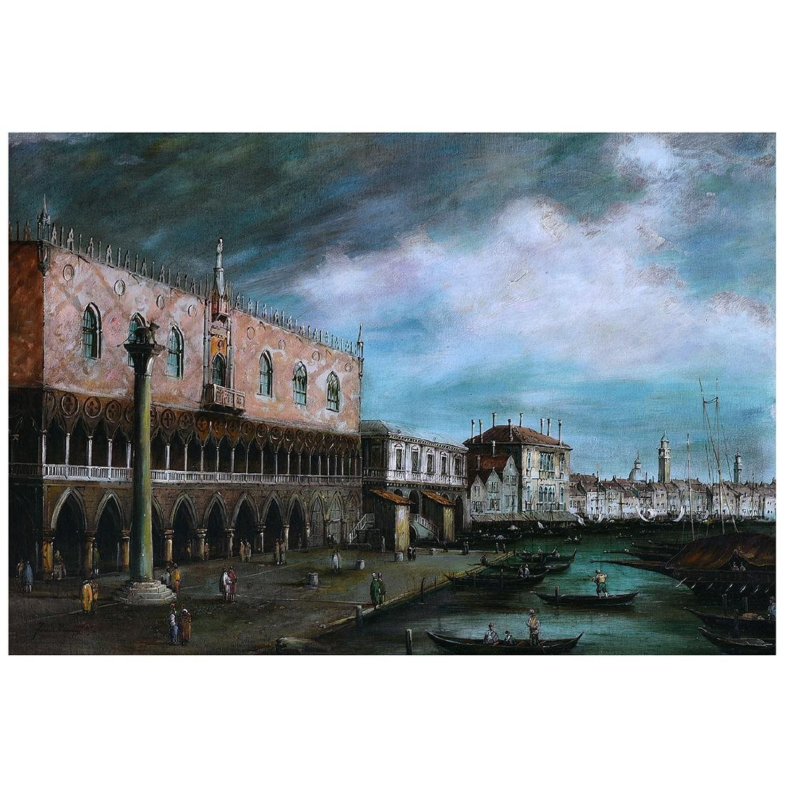 """Continental School """"St. Mark's Port"""" oil on canvas"""