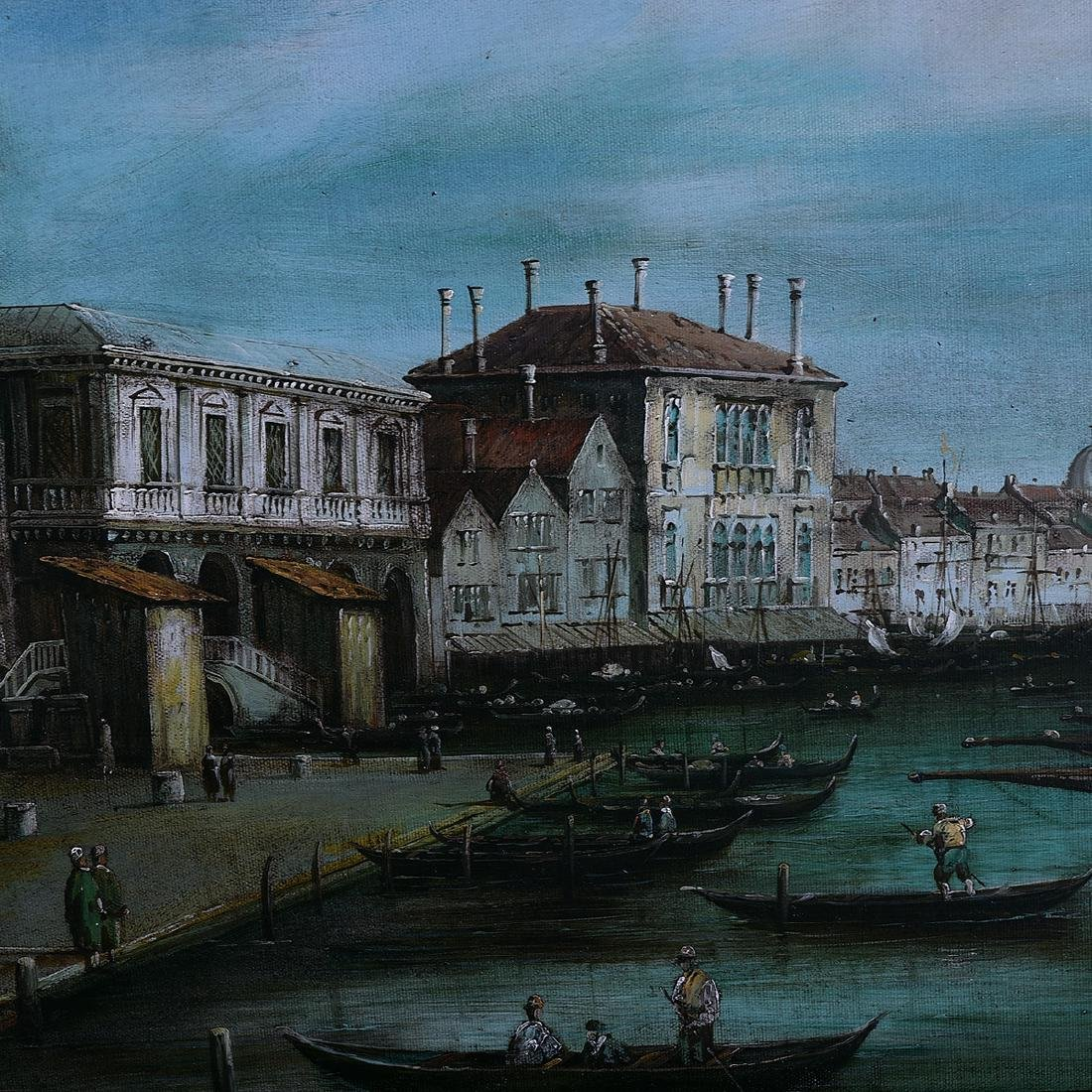 """Continental School """"St. Mark's Port"""" oil on canvas - 3"""