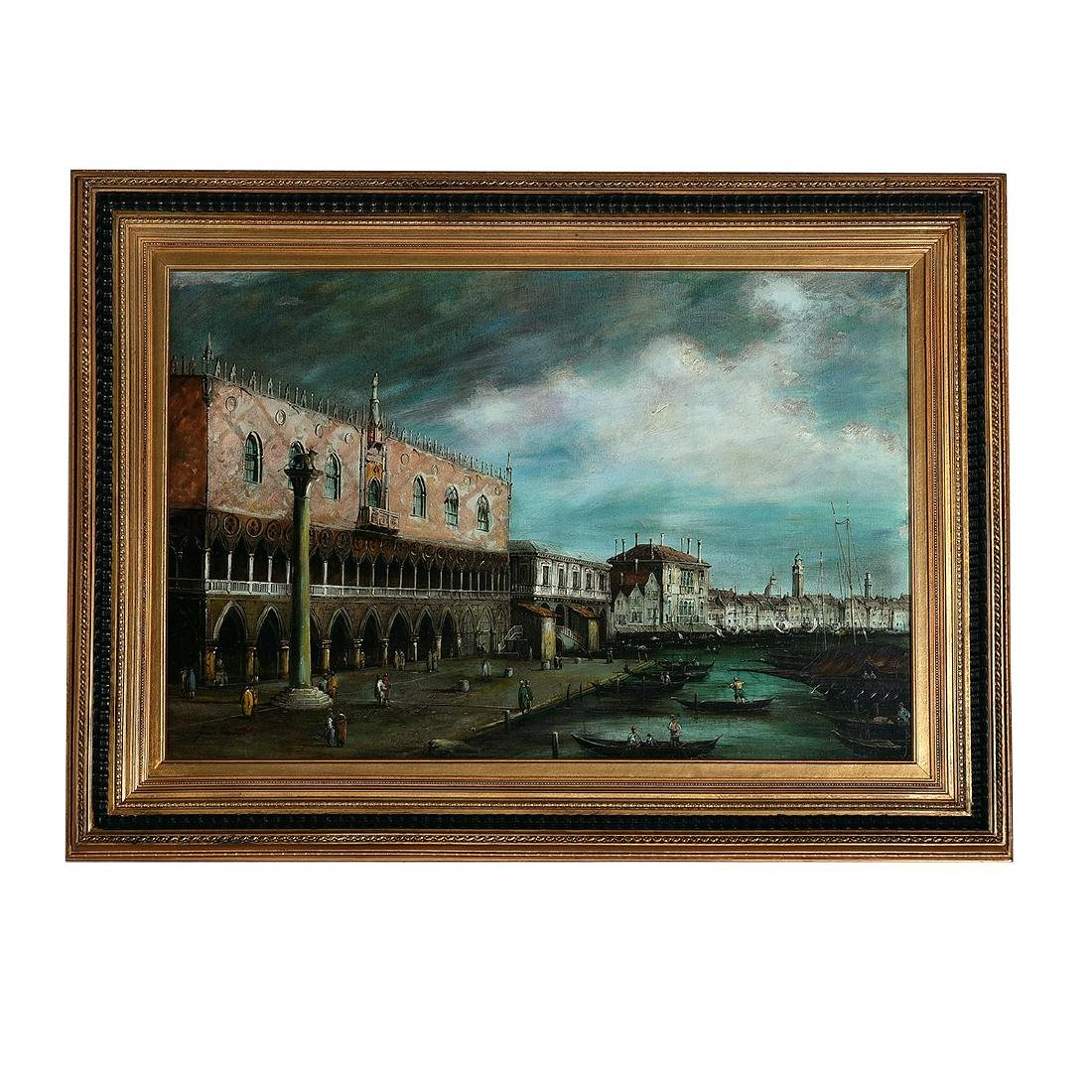 """Continental School """"St. Mark's Port"""" oil on canvas - 4"""