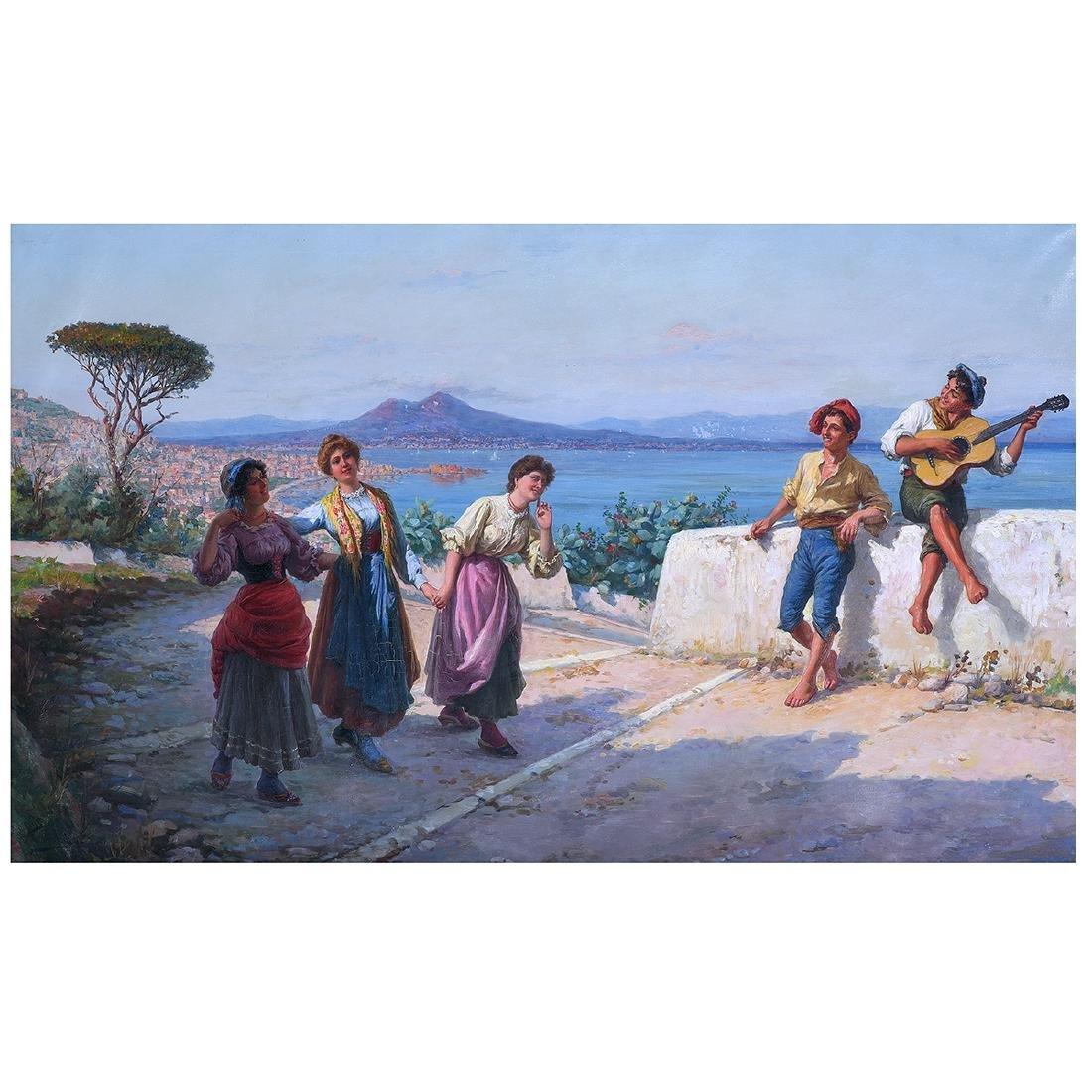 """Carlo Ferranti """"The Serenade (Naples Scene)"""" oil on"""