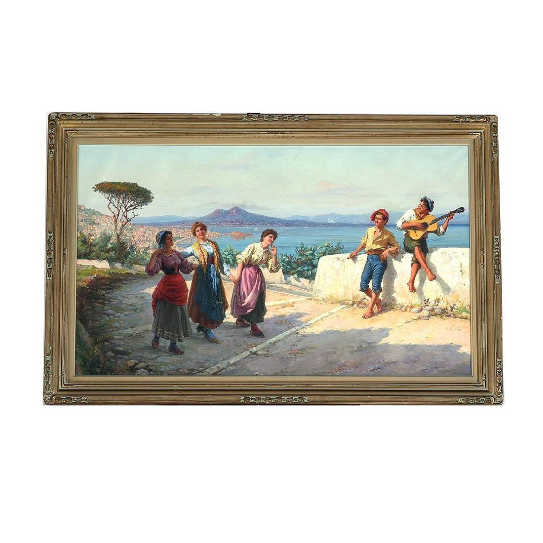 """Carlo Ferranti """"The Serenade (Naples Scene)"""" oil on - 4"""