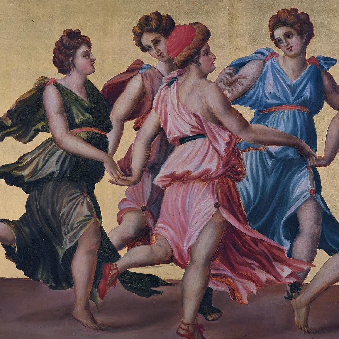 """European School """"The Joy of the Gods"""" oil on panel - 2"""