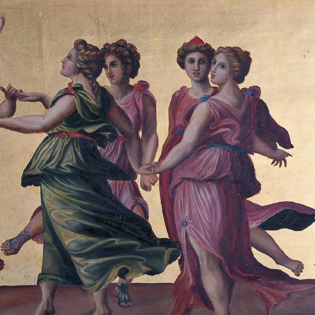 """European School """"The Joy of the Gods"""" oil on panel - 3"""