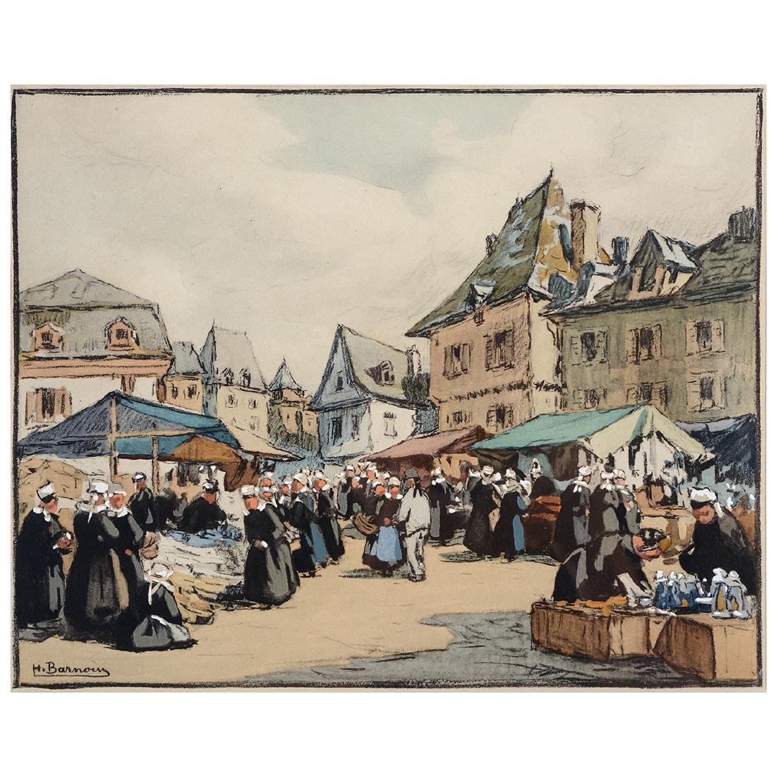 "Henri Barnoin ""Market Scene"" watercolor and gouache"
