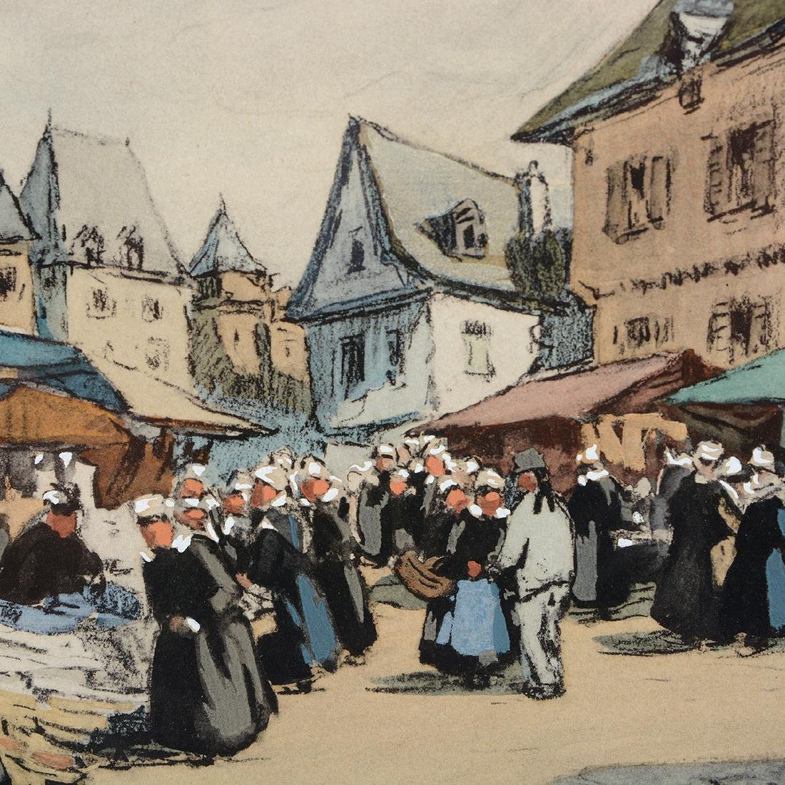 "Henri Barnoin ""Market Scene"" watercolor and gouache - 3"
