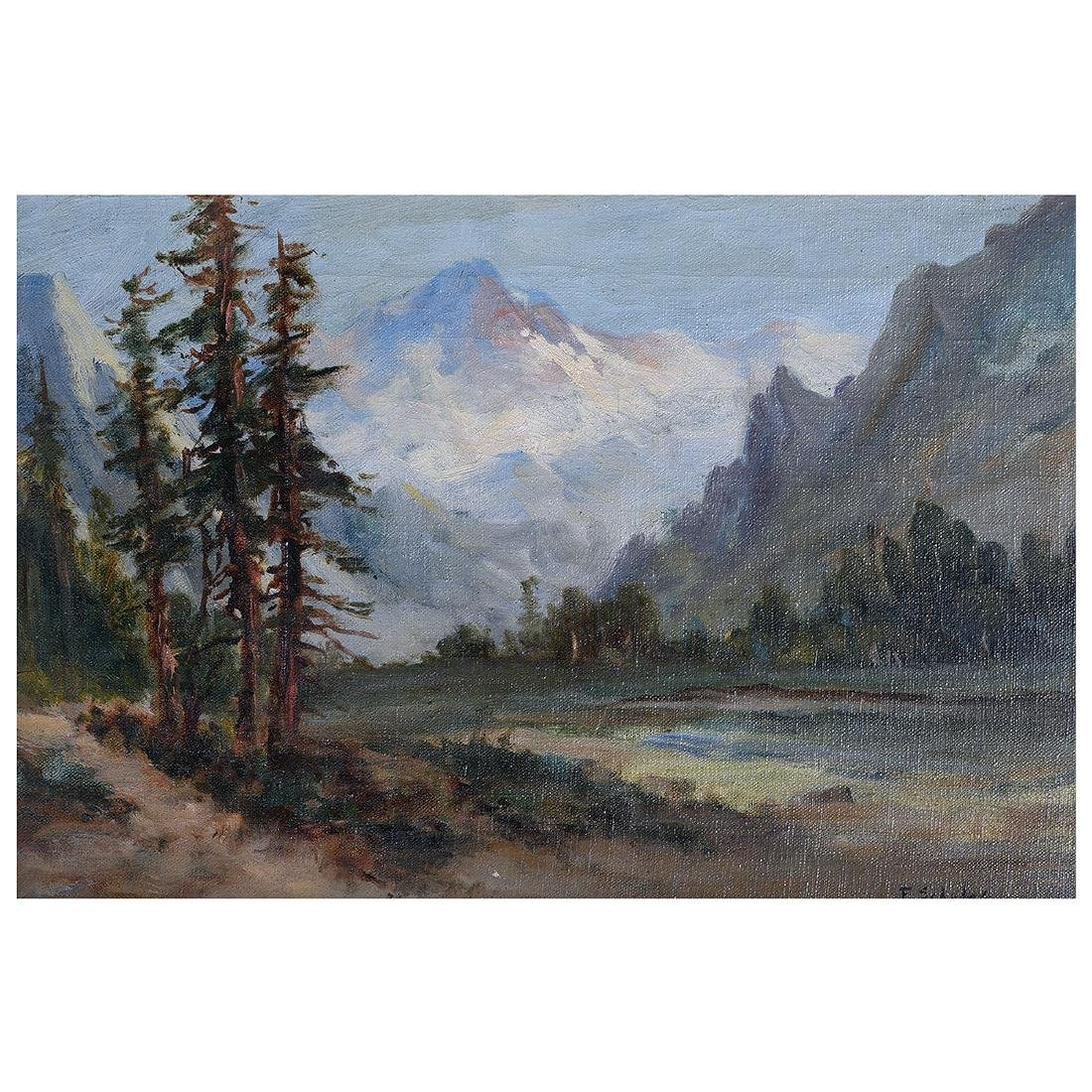 """Frederick Schafer """"Valley Landscape with Mountain"""" oil"""