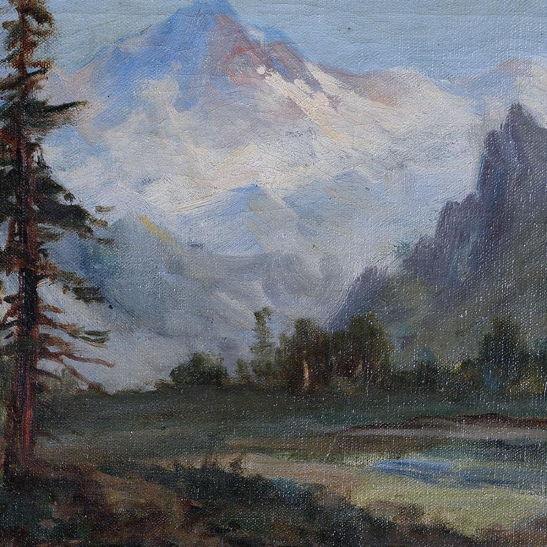 """Frederick Schafer """"Valley Landscape with Mountain"""" oil - 3"""