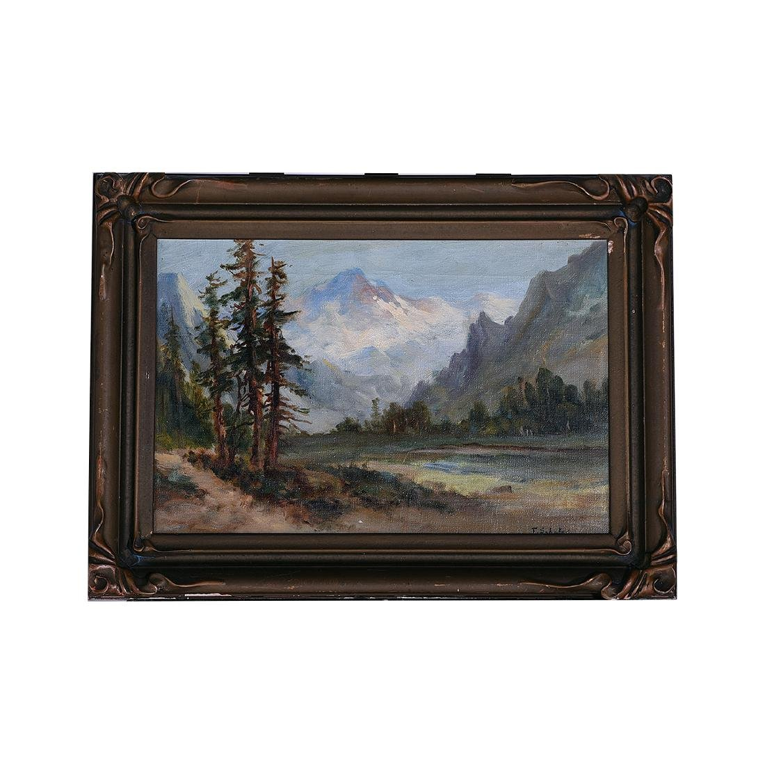 """Frederick Schafer """"Valley Landscape with Mountain"""" oil - 4"""