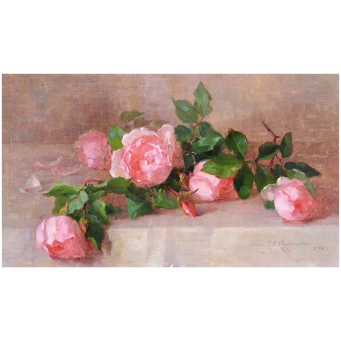 """Alice B. Chittenden """"Still Life of Pink Roses"""" oil on"""