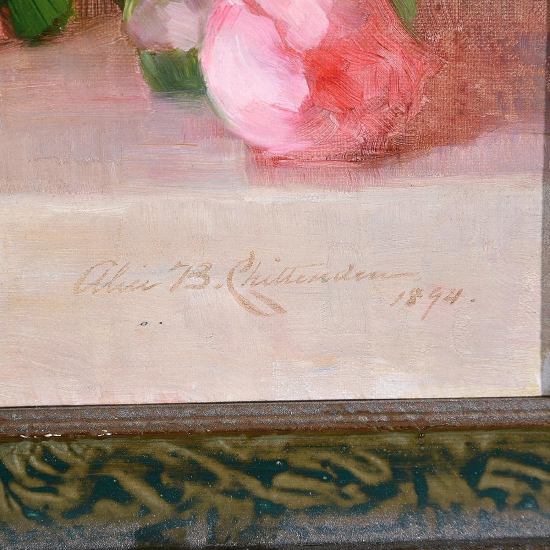 """Alice B. Chittenden """"Still Life of Pink Roses"""" oil on - 2"""