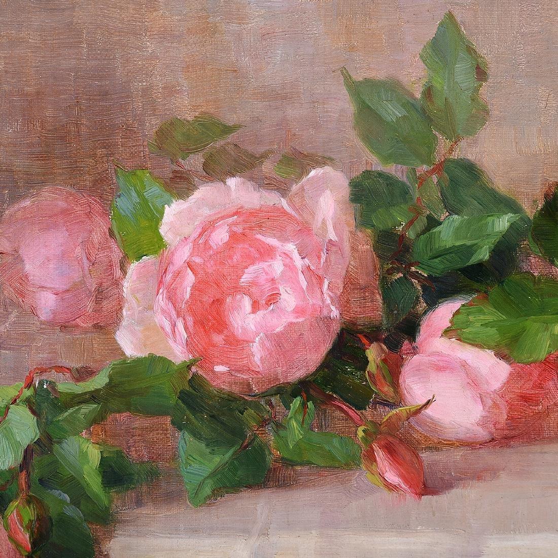 """Alice B. Chittenden """"Still Life of Pink Roses"""" oil on - 3"""
