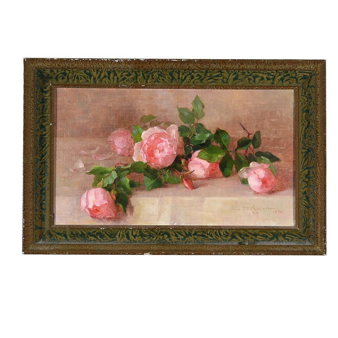 """Alice B. Chittenden """"Still Life of Pink Roses"""" oil on - 4"""
