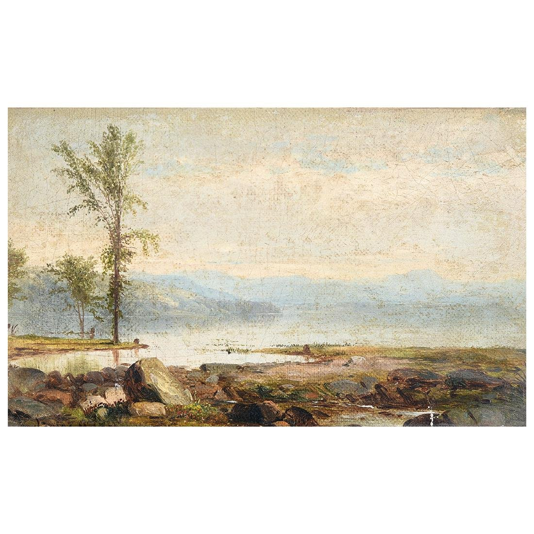 "James McDougal Hart ""Shore Scene with single tree"" oil"