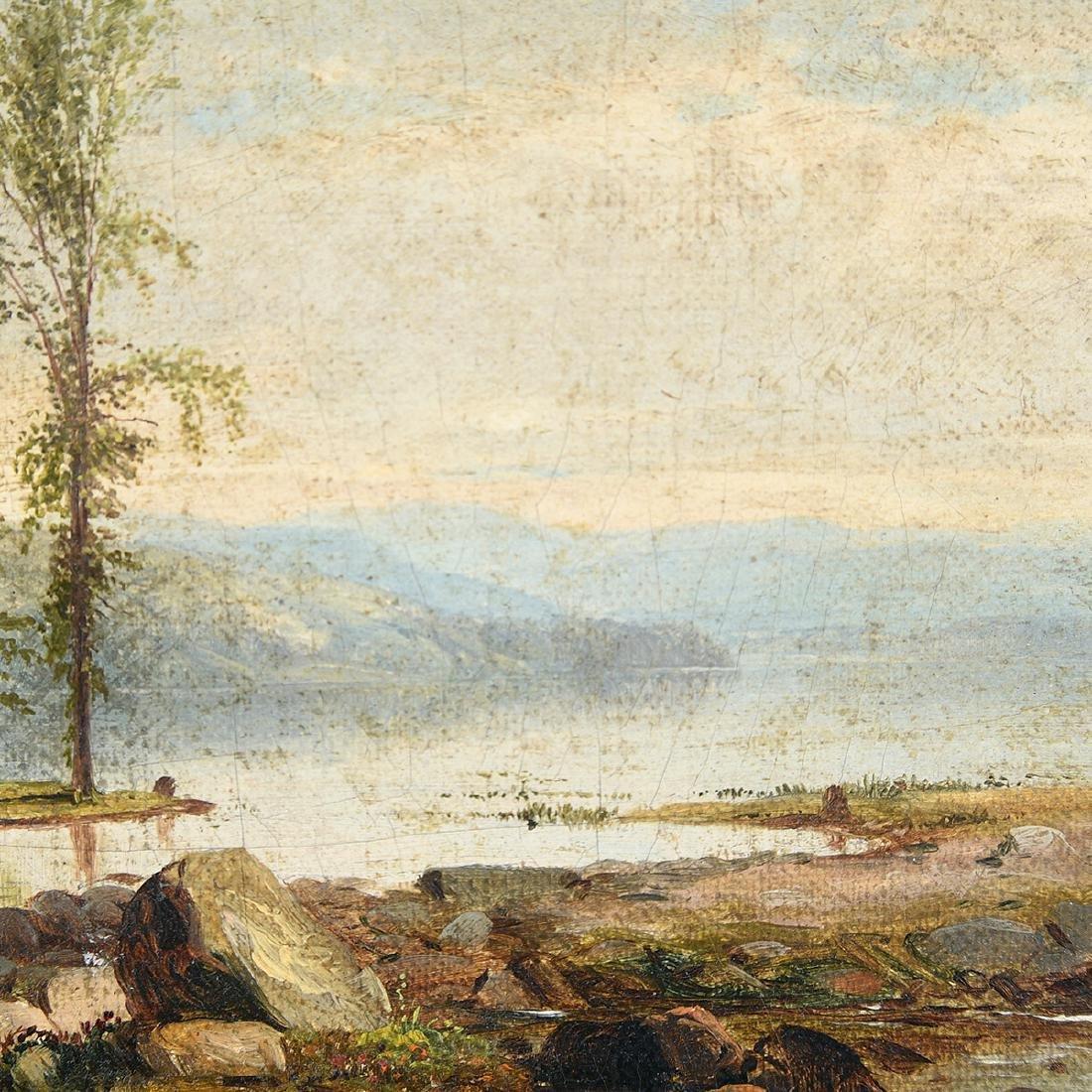 "James McDougal Hart ""Shore Scene with single tree"" oil - 3"