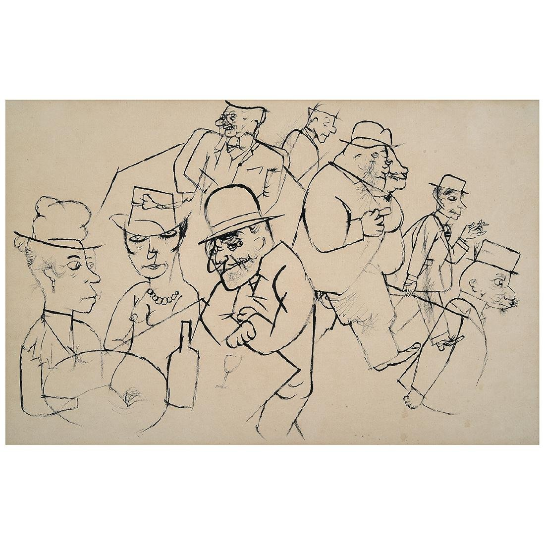 "George Grosz ""Bar Scene"" lithograph"