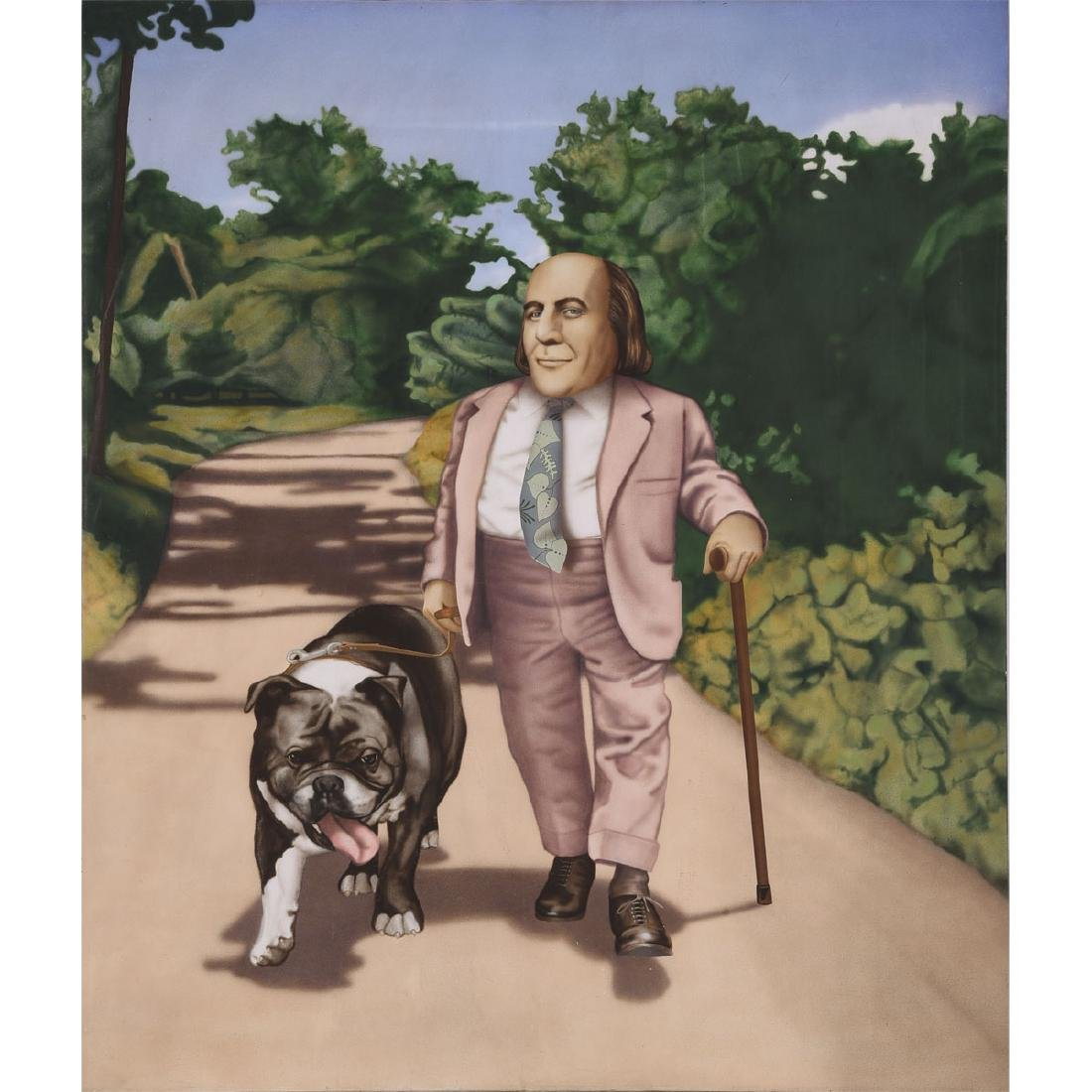 """Tom Palmore """"Myron and Sophie in Jamaica"""" oil on canvas"""
