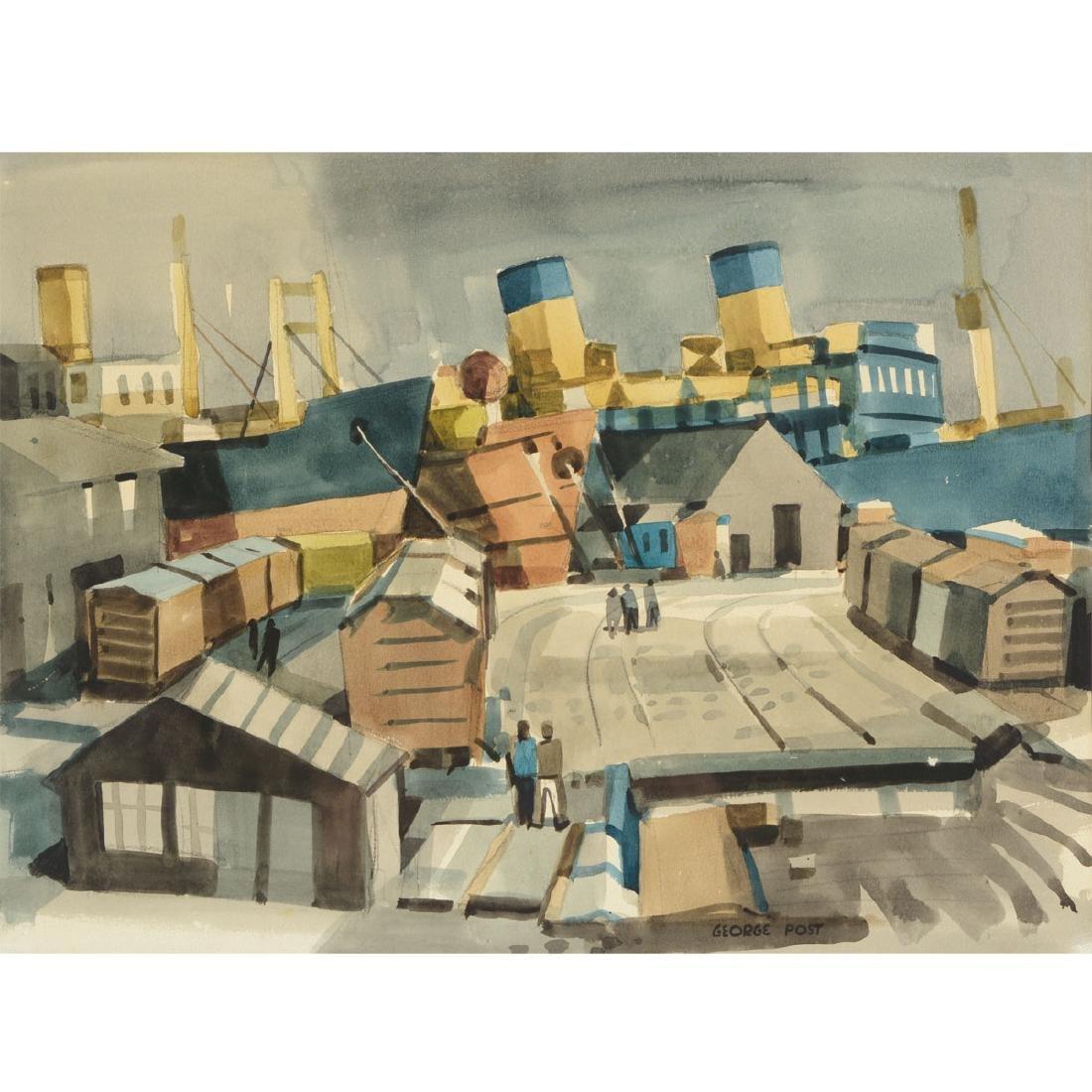 """George Post """"Shipyard"""" watercolor"""