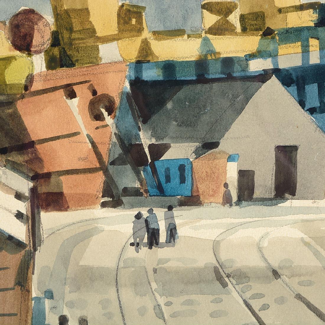 """George Post """"Shipyard"""" watercolor - 2"""