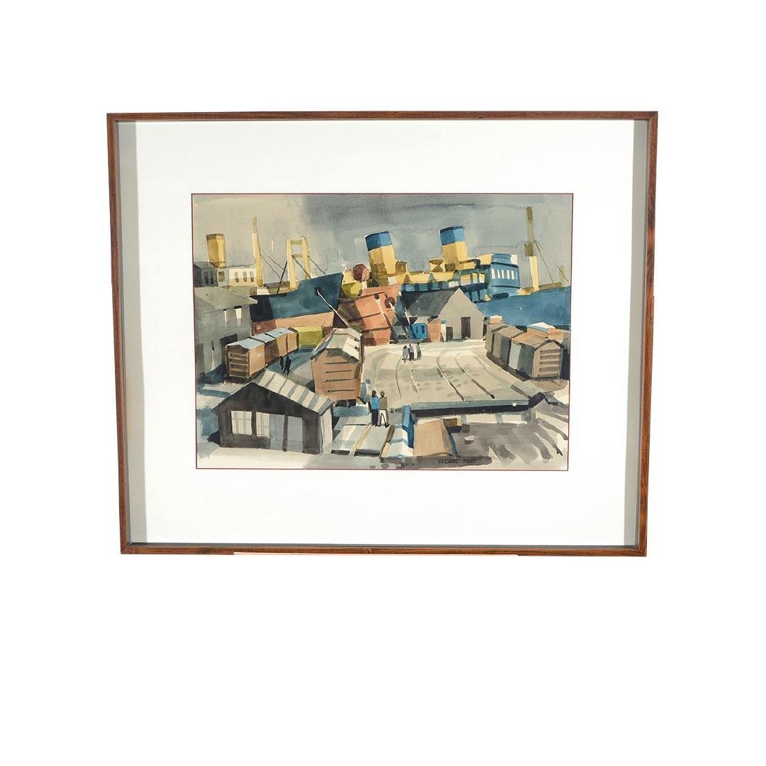 """George Post """"Shipyard"""" watercolor - 4"""