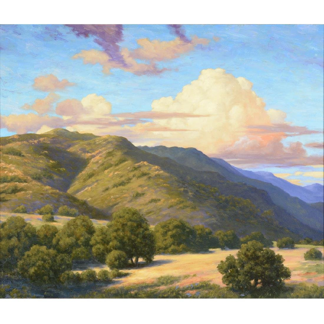 """California School """"Hills with Clouds"""" oil on board"""