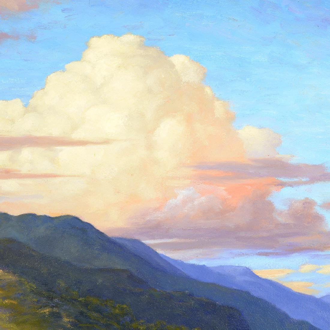 "California School ""Hills with Clouds"" oil on board - 3"