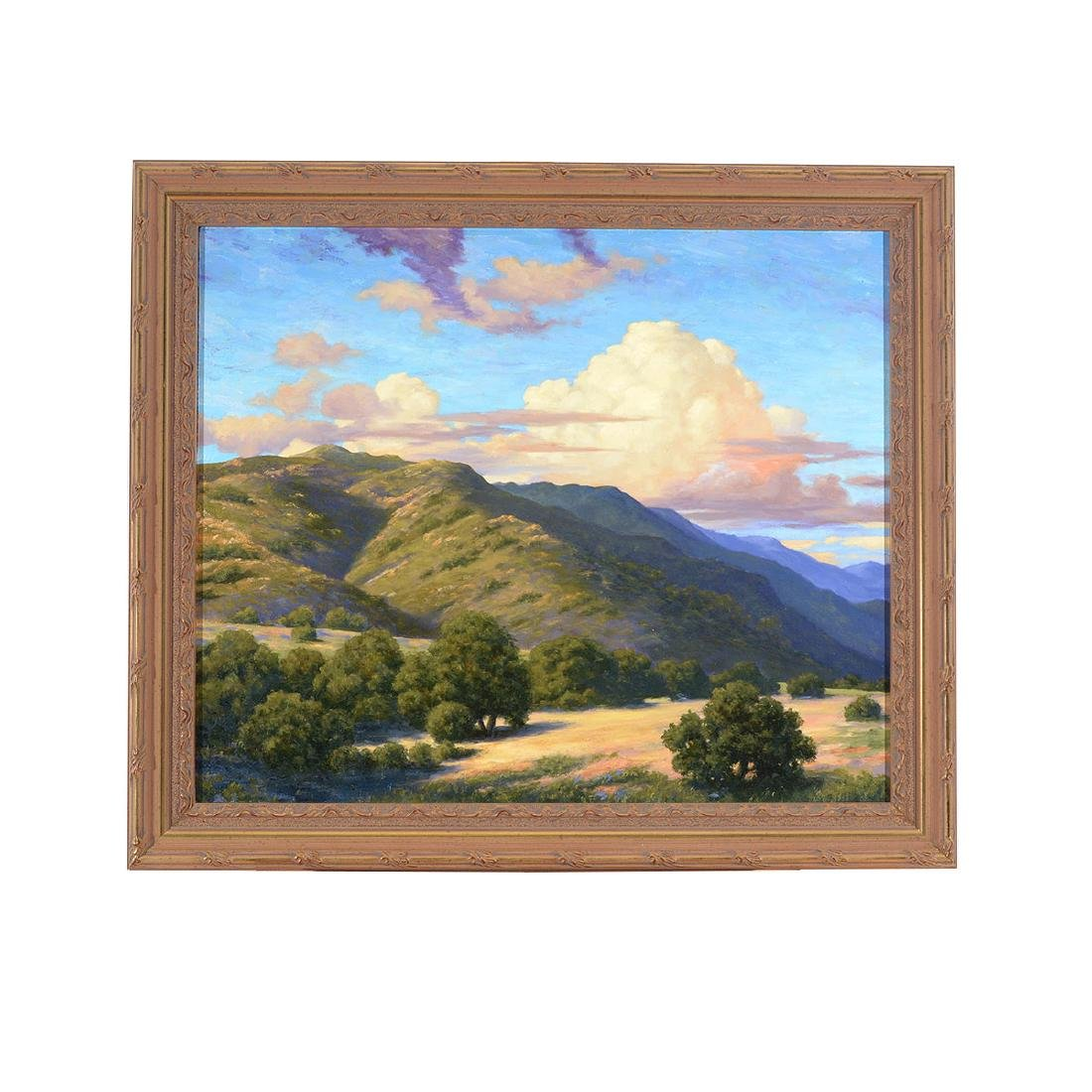 "California School ""Hills with Clouds"" oil on board - 4"