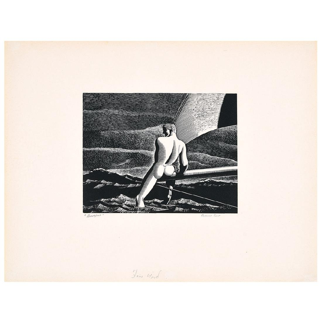 "Attributed to Rockwell Kent ""Fair Wind"" wood engraving"